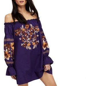FREE PEOPLE Purple Fleur du Jour Mini Dress